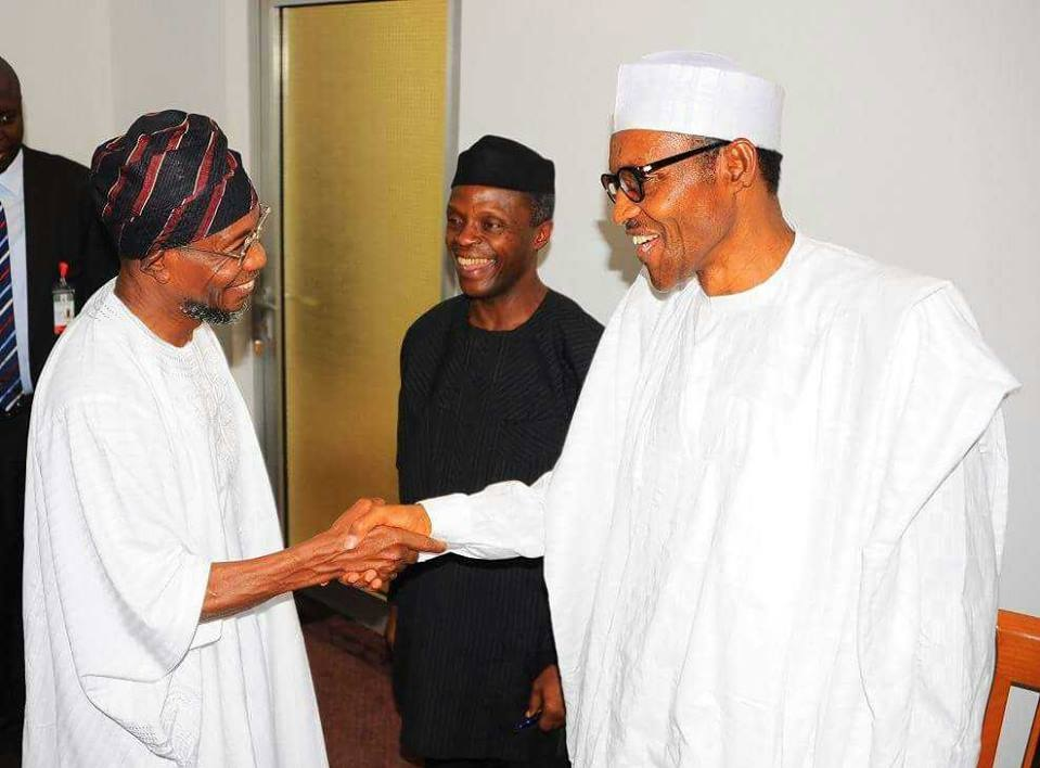 President Buhari in warm and hearty handshake with Omoluabi Governor Aregbesola while VP Osinbajo witnessed it with an endorsement smile