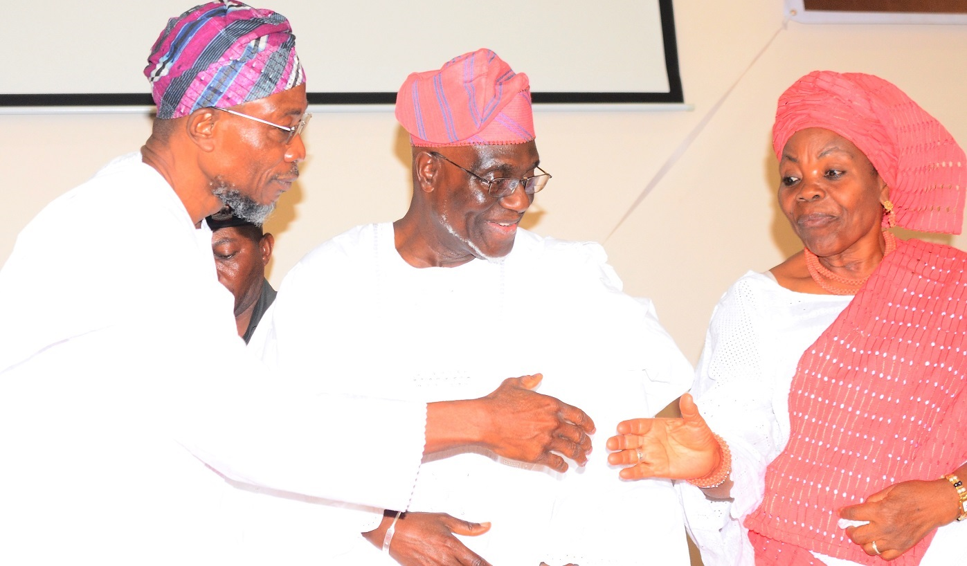 Aregbesola Celebrates With Former NLC President Comrade Hassan Sunmonu @75
