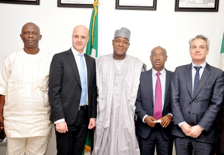 Speaker, House of Representatives, Hon. Yakubu Dogara ( Middle), Chairman, House Committee on Petroleum Resources ( upstream ), Hon. Victor Nwokolo ( 1st left ), Former Swedish Prime Minister & In-Coming Chairman of International Extractive Industries Transparency Initiative ( IETI ) , Mr.Fredrik Reinfeldt ( 2nd left ), Ag Executive Secretary NEITI, Dr.Orji Ogbonaya Orji ( 2nd right ), and Deputy Head of Secretariat, IETI, Mr. Eddie Rich, ( 1st right ) during the Visit of the IETI to the office of Speaker in National Assembly Yesterday, picture: Speakers media office. 08 / 02 / 2016.