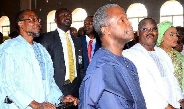 Governor State of Osun, Ogbeni Rauf Aregbesola (left), Vice President,Prof. Yemi Osinbajo (2nd left), Oyo State Governor, Senator Abiola Ajimobi (2nd right),and his Wife Florence Ajimobi (right), during the Funeral Service of Olubadan Of Ibadan, Oba Samuel Odulana Odugade 1st at St Peters' Anglican Church, Aremo, Ibadan, Oyo State on 12/02/2016.