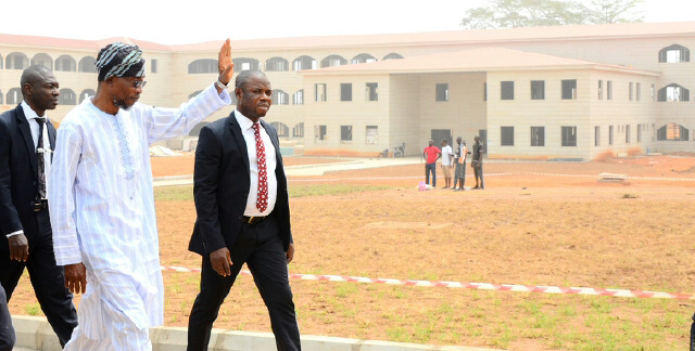 Governor State of Osun, Ogbeni Rauf Aregbesola during the unscheduled inspection to the ongoing construction of Osogbo Government High School, Osogbo on Monday 08-02-2016.