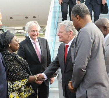 Lagos State deputy governor, Dr. Idiat Oluranti Adebule welcoming President Joachim Gauck of Germany (2nd right) who is on official visit to Lagos State, at the presidential wing of the Murtala Muhammed International airport, Ikeja on Monday, February 8,2016. With them are German Ambassador to Nigeria Mr. Michael Zenner (2nd left) and the Nigeria foreign Affairs Minister, Mr Geoffrey Onyeama,