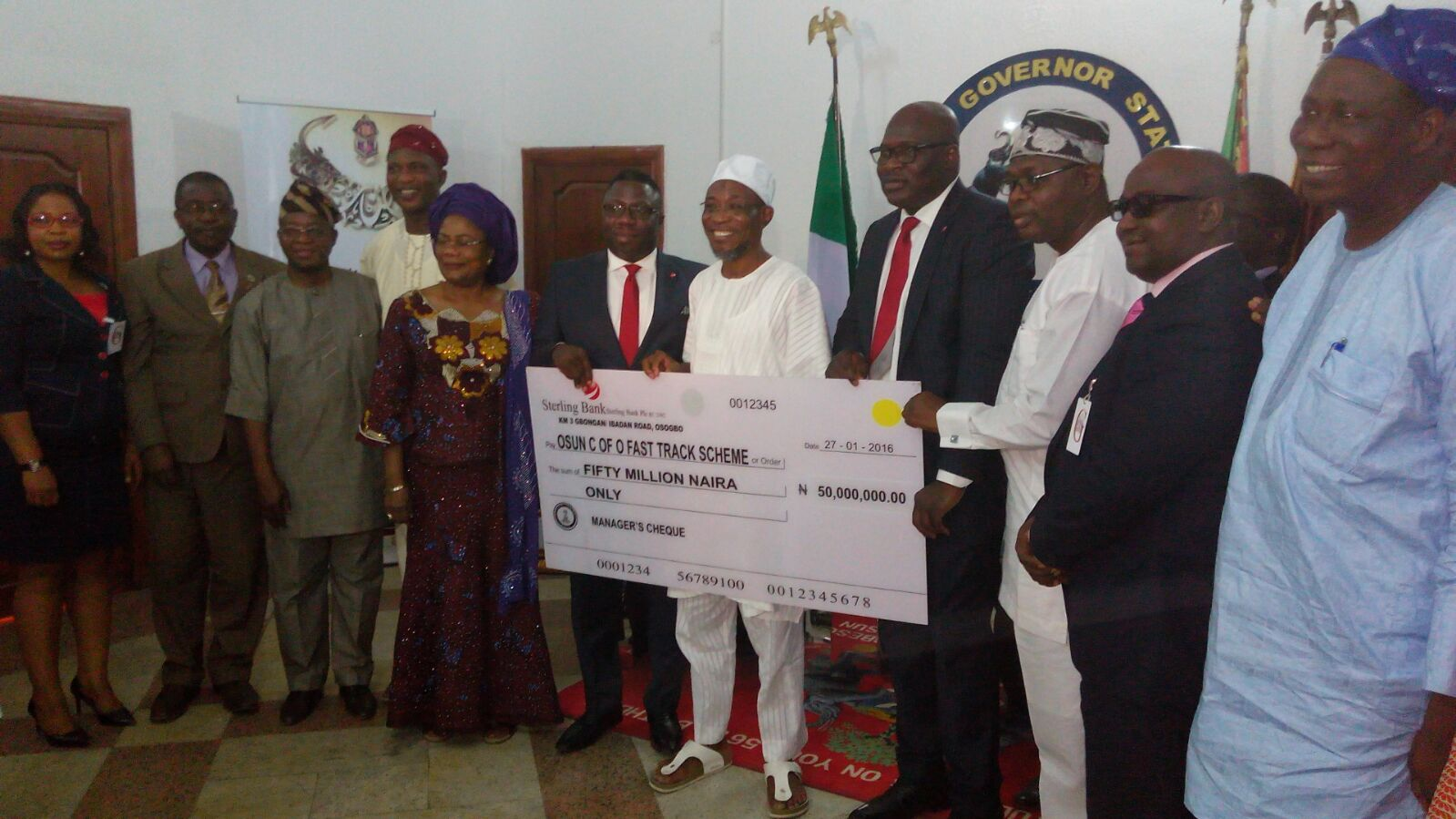 Sterling Bank Presents N50m To State Of Osun