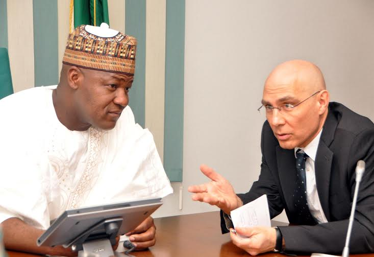 Speaker, House of Representatives, Rt. Hon. Yakubu Dogara in a chat with UNHCR Assistant High Commissioner in Charge of Protection, Mr. Volker Turk, during a visit by a delegation from the UNHCR to the National Assembly, on Monday, 22 / 02 / 2016.