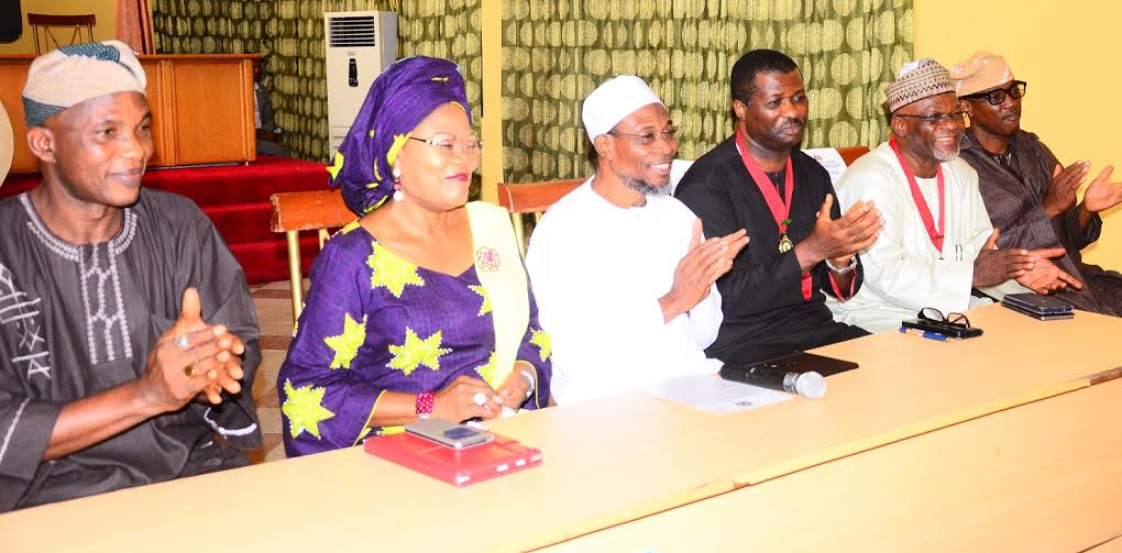 Governor State of Osun, Ogbeni Rauf Aregbesola (3rd left),his Deputy, Mrs. Titi Laoye-Tomori (2nd left), Representative of the National President,Nigerian Institute of Architects, (NIA) Third Vice President, Arch. Enyi Ben Eboh (3rd right), President Architect's Registration Council of NIG. (ARCON), Arch. Umaru Aliyu (2nd right), Secretary to the State Government, Osun, Alhaji Moshood Adeoti (left), and Chairman, State of Osun, Nigerian Institute of Architects, (NIA), Arch. Goke Omigbodun (right),during a Courtesy Visit to the Governor, at the Government House, Osogbo, on Monday 30/05/2016.