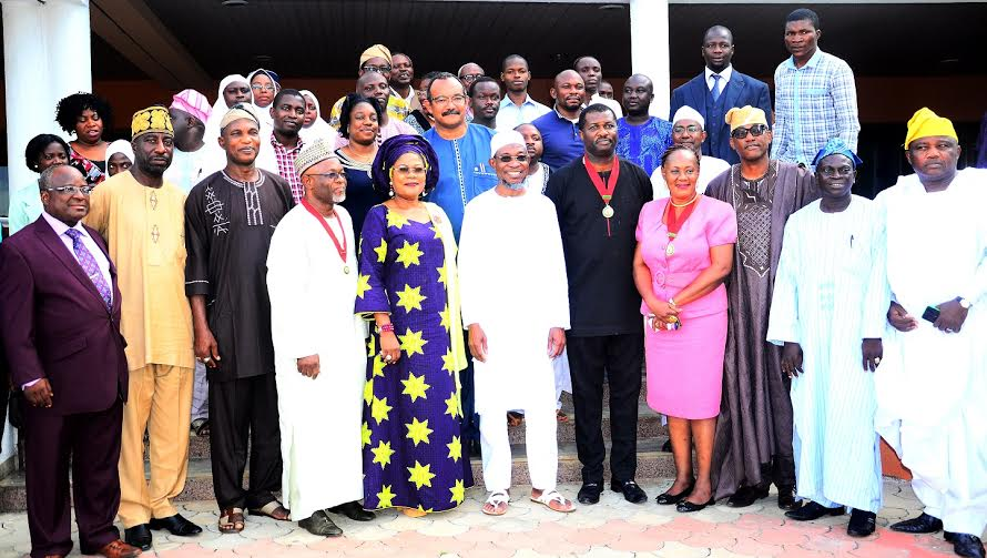 Governor State of Osun, Ogbeni Rauf Aregbesola (6th right),his Deputy, Mrs. Titi Laoye-Tomori (5th left), Representative of the National President,Nigerian Institute of Architects, (NIA) Third Vice President, Arch. Enyi Ben Eboh (5th right), President Architect's Registration Council of NIG. (ARCON), Arch. Umaru Aliyu (4th left), Secretary to the State Government, Osun, Alhaji Moshood Adeoti (3rd left), Chairman, State of Osun, Nigerian Institute of Architects, (NIA), Arch. Goke Omigbodun (3rd right), and others during a Courtesy Visit to the Governor, at the Government House, Osogbo, on Monday 30/05/2016.