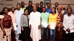 Governor State of Osun, Ogbeni Rauf Aregbesola (5th left), his deputy, Mrs. Titi Laoye-Tomori (4th left), Secretary to the State Government, Alhaji Moshood Adeoti (3rd left), Mr. Oguntoye Adedeji (4th right), Abiri Rachael (3rd right), Olanibi Comfort (2nd right) and other Agric Trainees, at the official reception of the 2nd batch of Osun Sponsored Agric Trainees to Germany on arrival, at the Governor's office, Osogbo on Thursday 20/10/2016.
