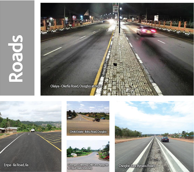 A cross-section of road projects completed by the current Osun administration