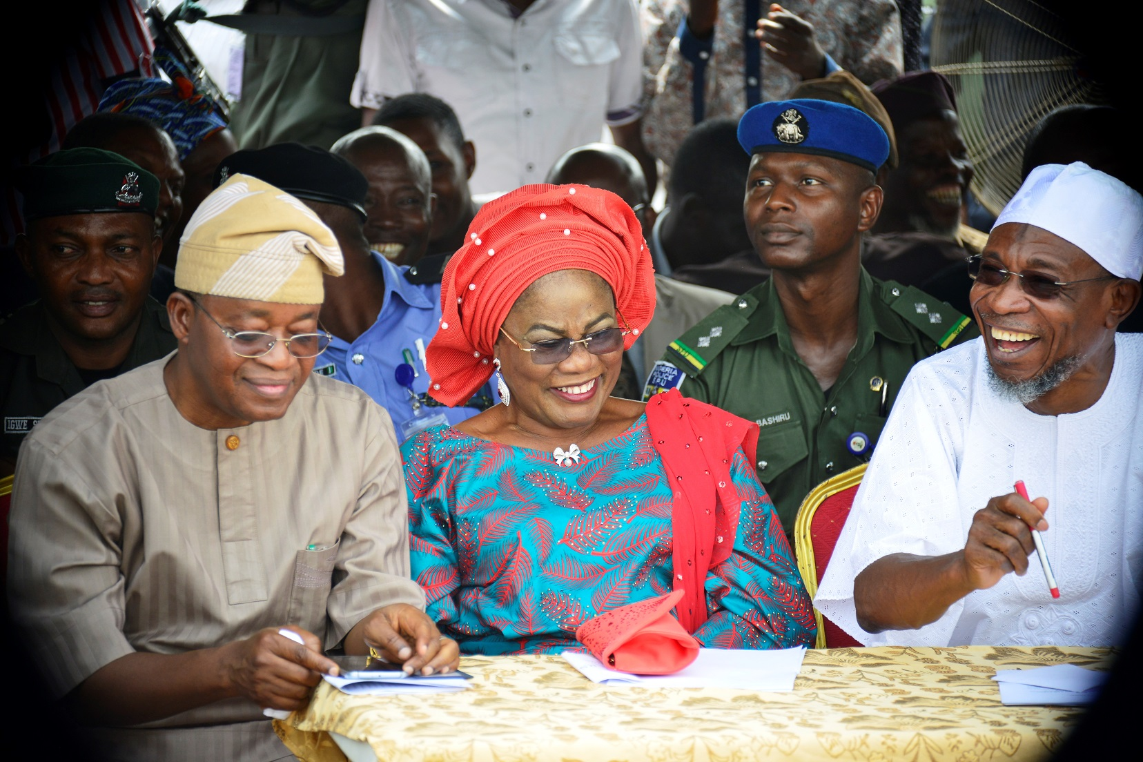 From right, Governor State of Osun, Ogbeni Rauf Aregbesola; his deputy, Mrs Titi Laoye-Tomori and Chief of Staff to the Governor, Alhaji Gboyega Oyetola, during an interaction between Mr Governor and Farmers on how to improve on agriculture in Osun, organised by State Agriculture, Quick Impact Intervention Programme, at the Mandela Freedom Park, Osogbo