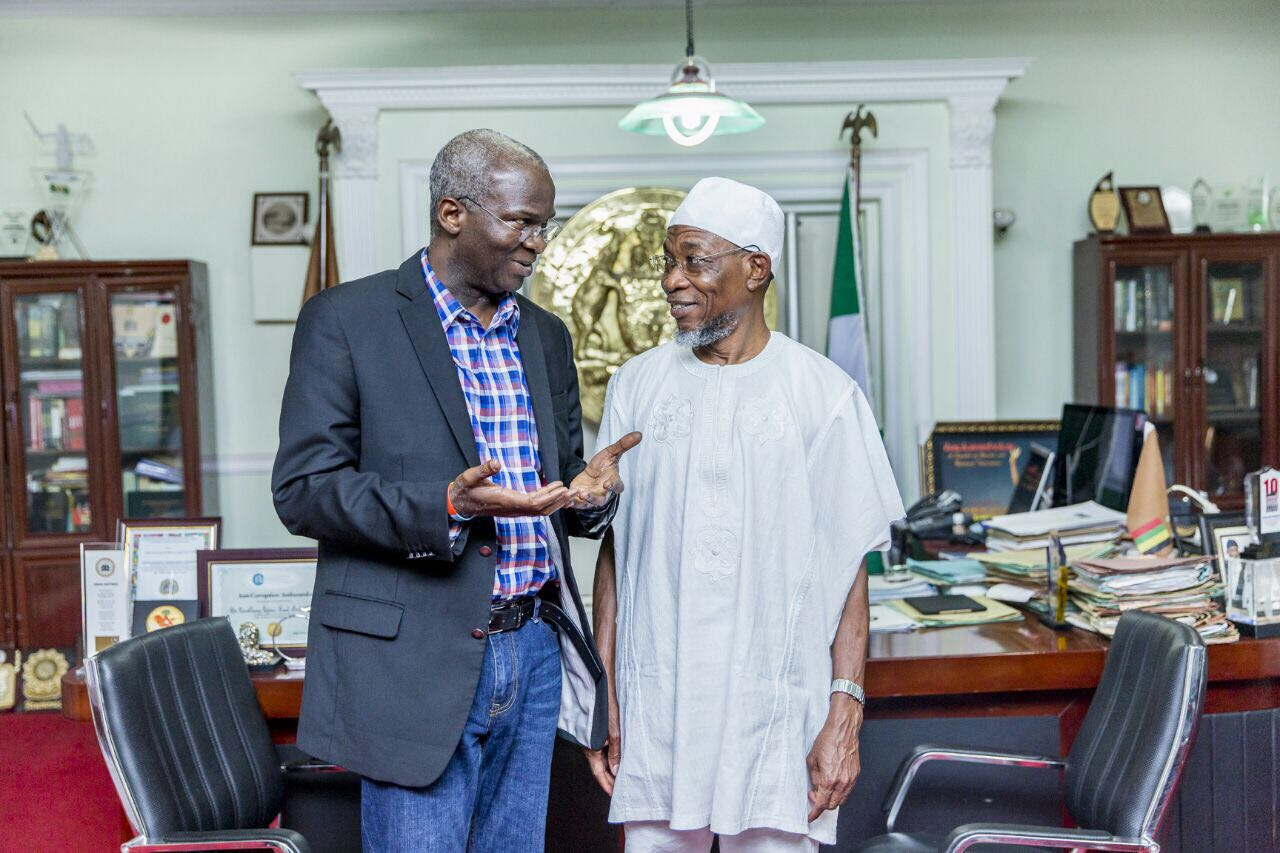 Photo; Aregbesola Meets With Minister of Power, Works And Housing