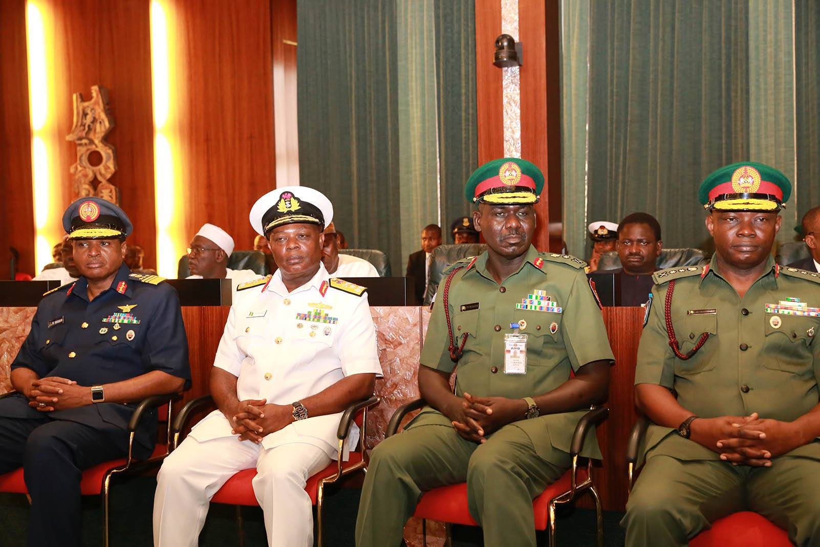 Chief Of Army Staff, Chief Of Air Staff & Chief Of Naval Staff Meet In Aso Rock