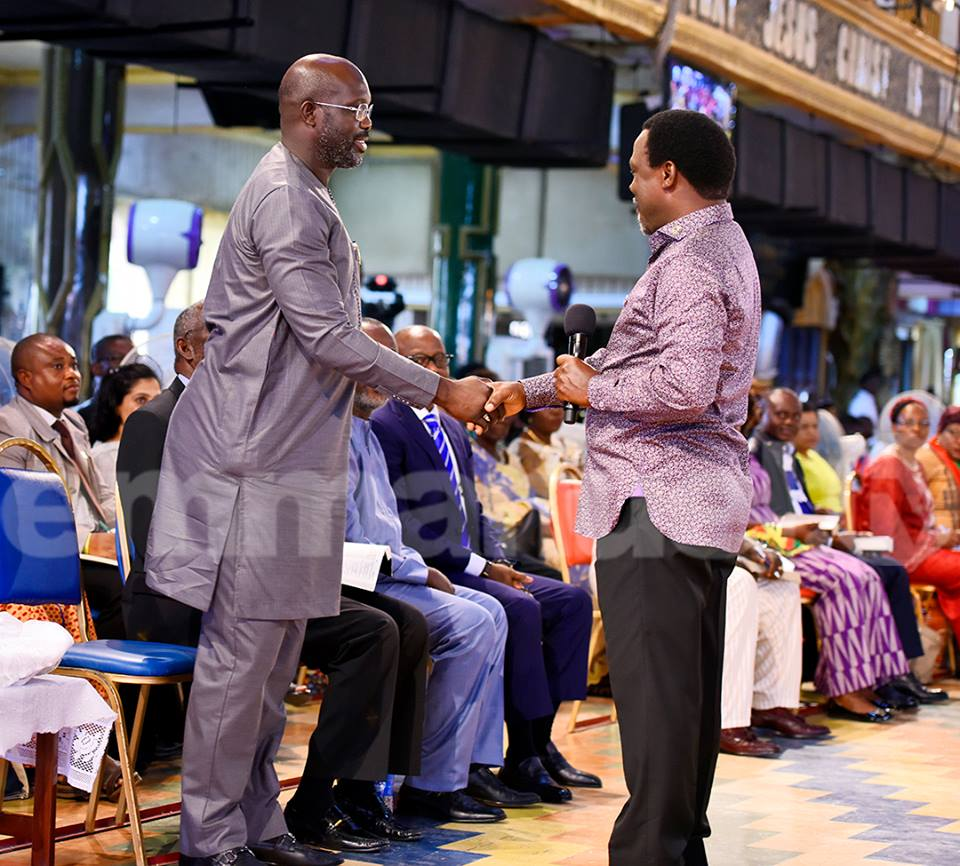 Liberian Presidential Candidate, George Weah Visits TB Joshua's Church In Lagos [PHOTOS]