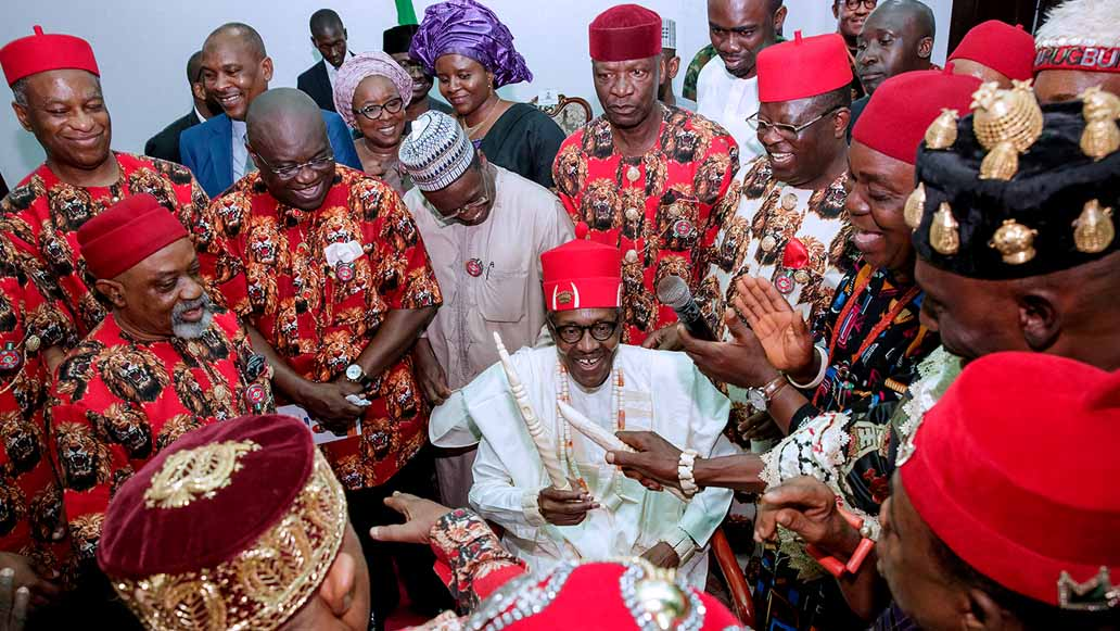 [PHOTO NEWS] Buhari Bags Two Chieftancy Titles In Ebonyi