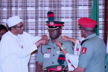 Buhari Decorates New Commander Of Guards Brigade
