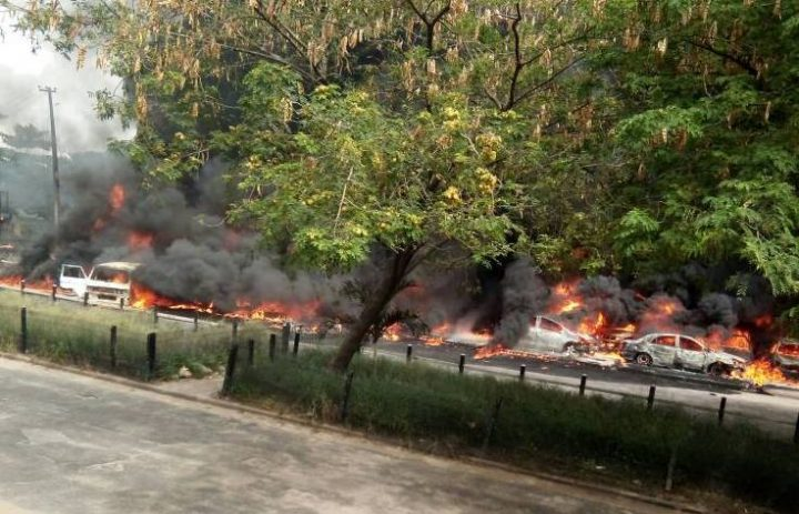 FESTAC Fire Explosion Leaves 20 Vehicles, 4 Motorcycles Burnt