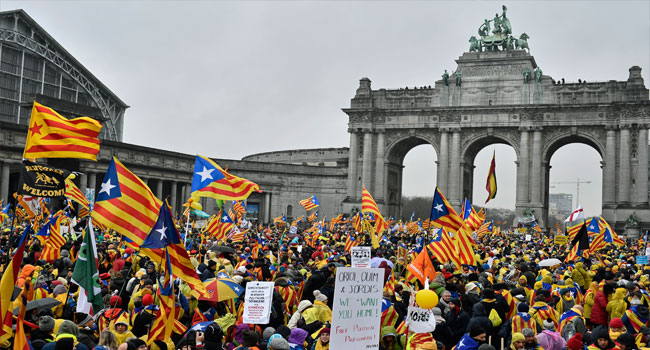 45,000 Pro-Catalan Protest In Brussel