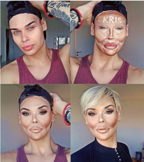 Makeup Artist Transforms To Kim K And Kris