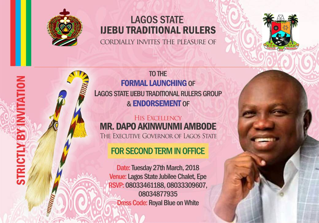 2019: Traditional Rulers To Endorse Ambode For Second Term