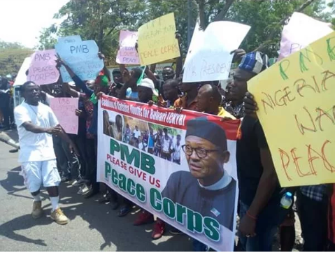 Peace Corps Protest In Benue During Buhari's Visit