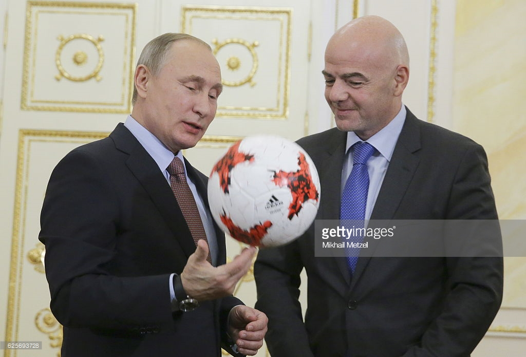 100 Days To World Cup:Russia President, Putin Plays Football With FIFA's Infantino