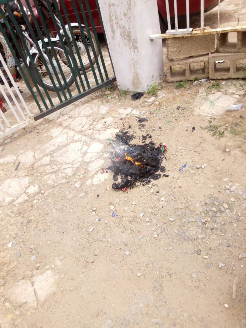 PHOTONEWS: Omisore Supporters Burn PDP Flags In Osogbo