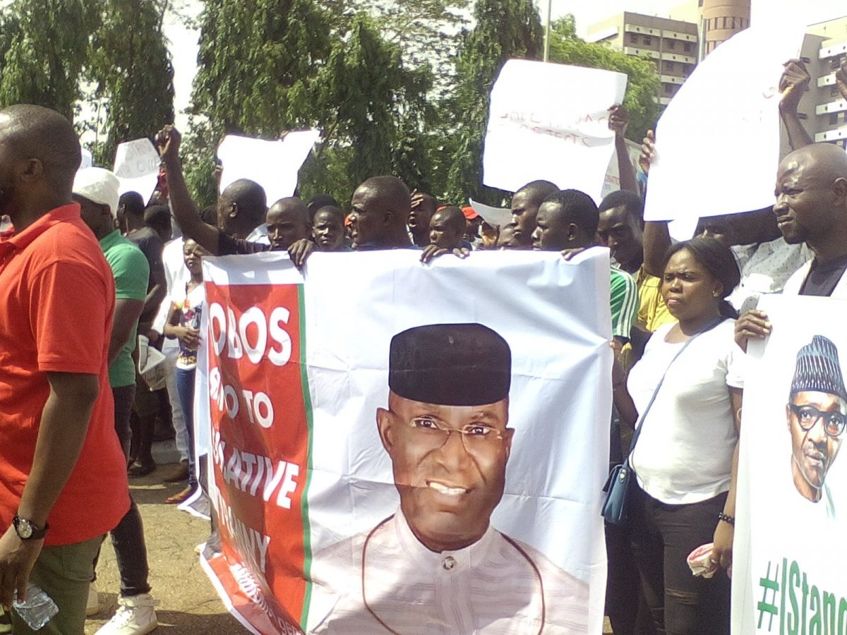 Senator Omo-Agege's Supporters Storm NASS In Protest [PHOTOS]